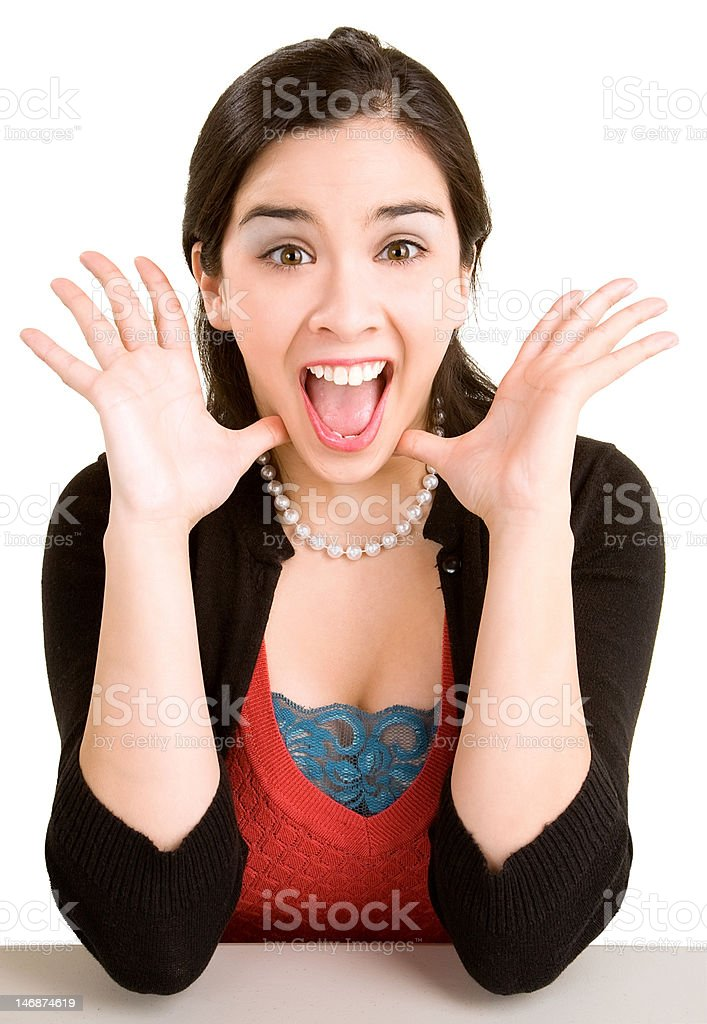 Expression of a Woman Winning Something Big royalty-free stock photo