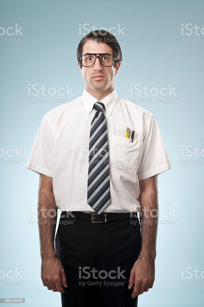 Expressionless Nerdy Office Worker royalty-free stock photo