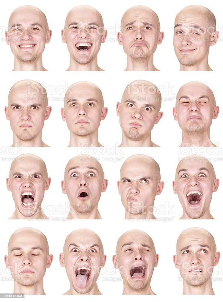Expressive bald man emotion set collection on white royalty-free stock photo