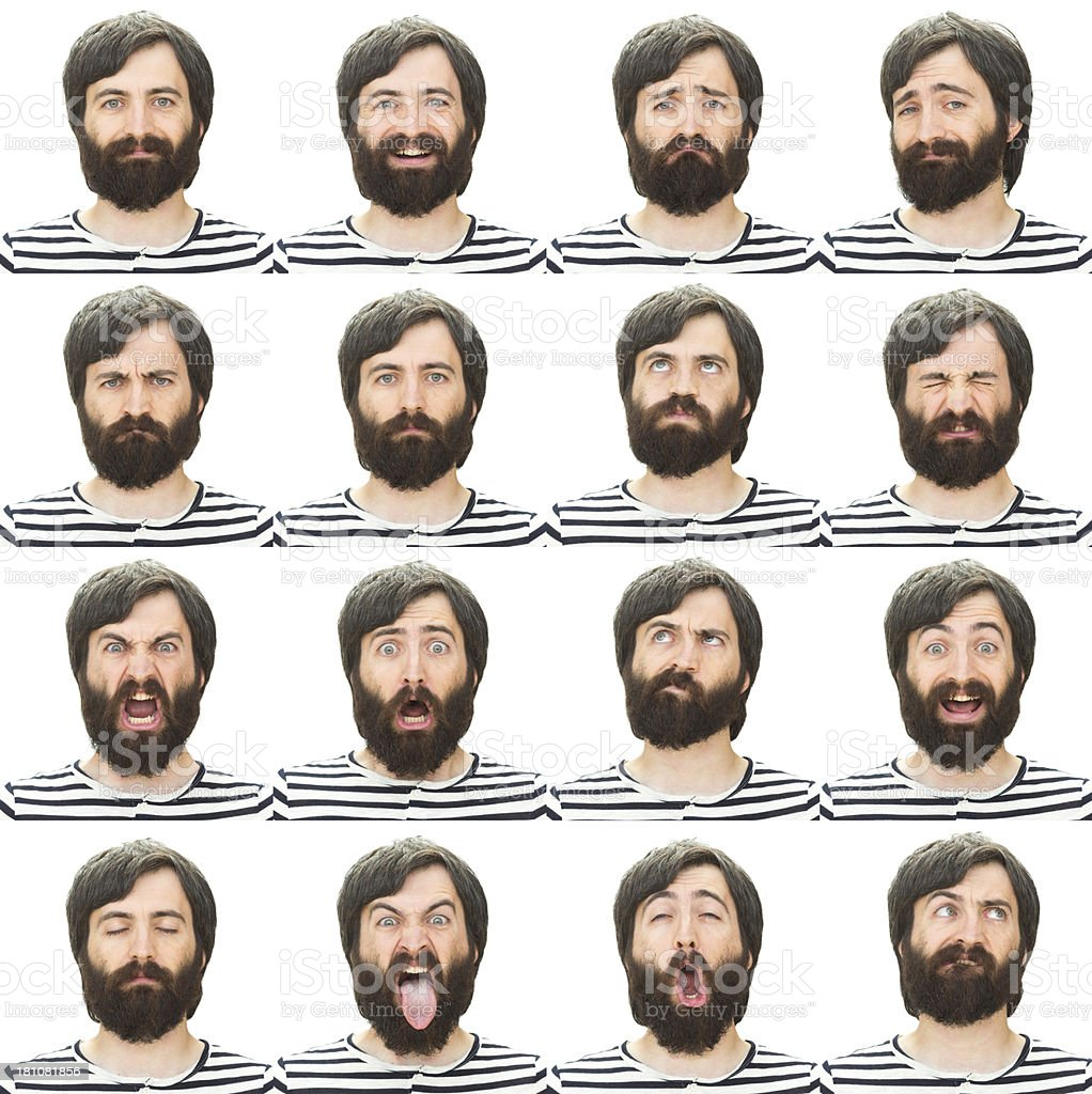 Expressive black beard man emotion set on white royalty-free stock photo