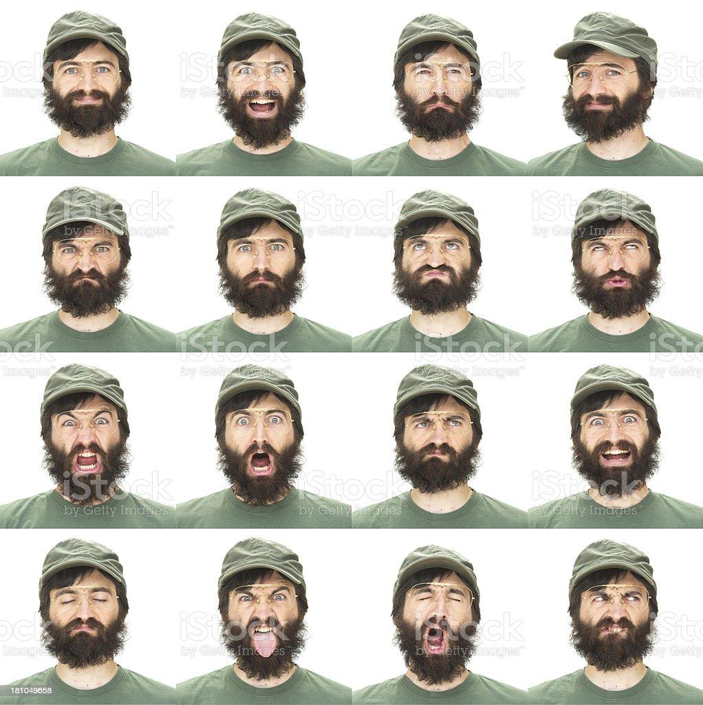 Expressive black beard man with hat emotion set on white royalty-free stock photo
