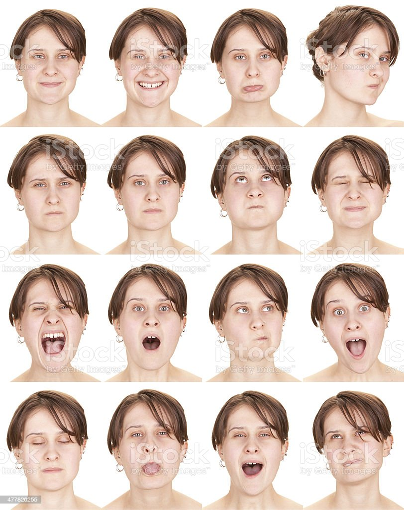 Expressive brown hair woman emotion set collection on white stock photo