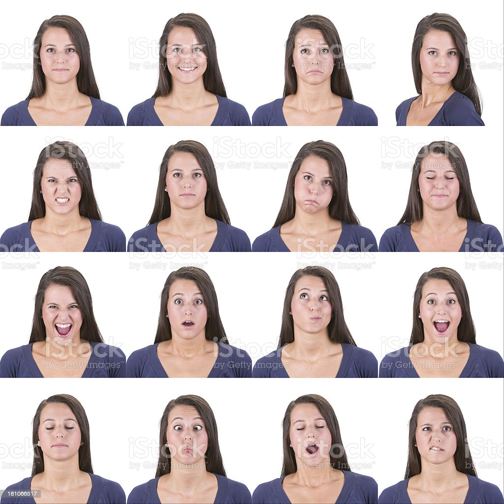 Expressive brown long hair woman emotion set collection on white stock photo