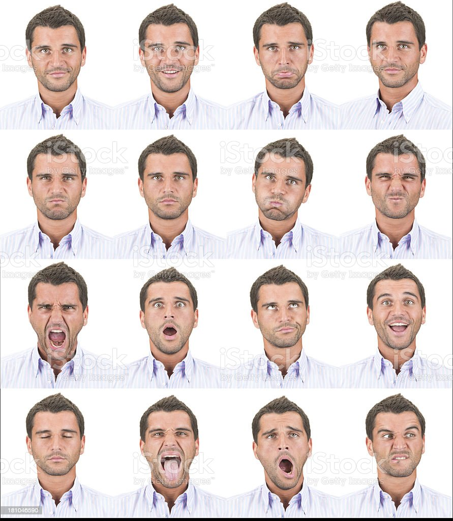 Expressive brown short hair man emotion set collection on white royalty-free stock photo