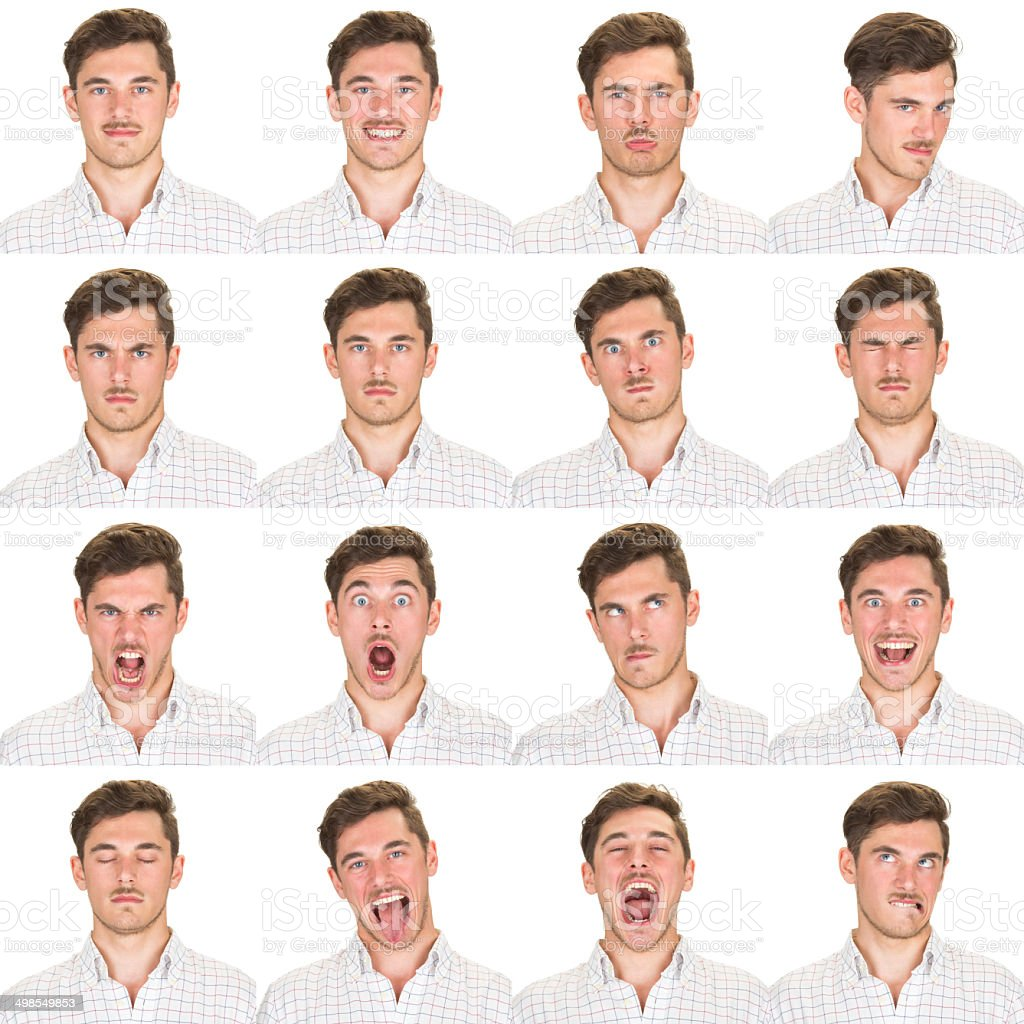 Expressive brown short hair man emotion set collection on white stock photo