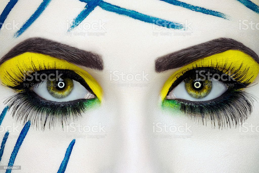 expressive makeup eyes stock photo