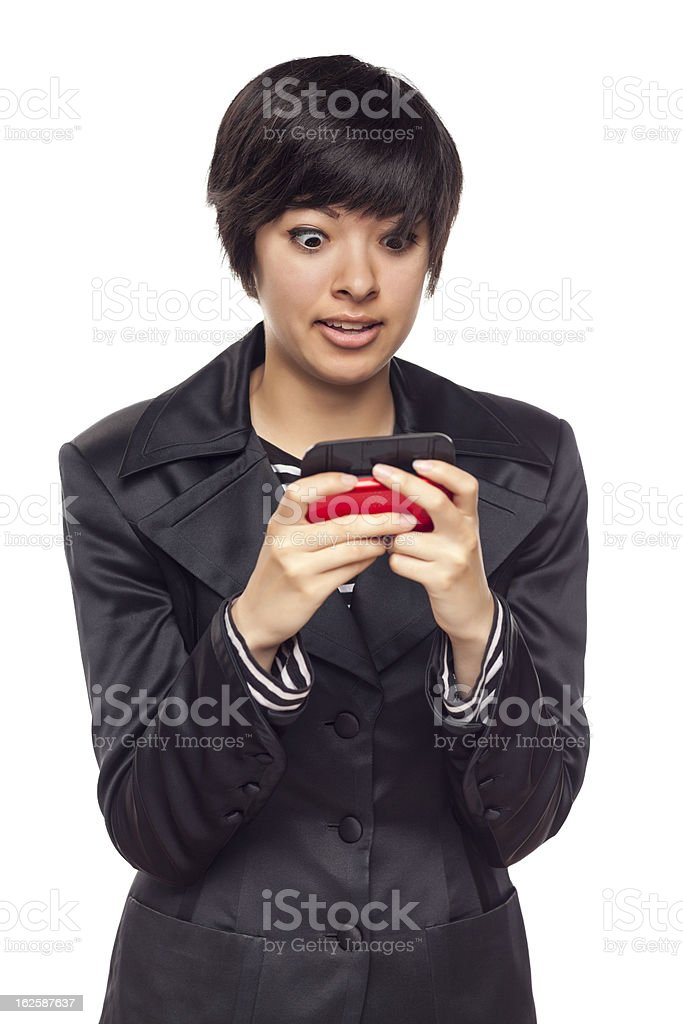 Expressive Mixed Race Woman with Cell Phone on White royalty-free stock photo