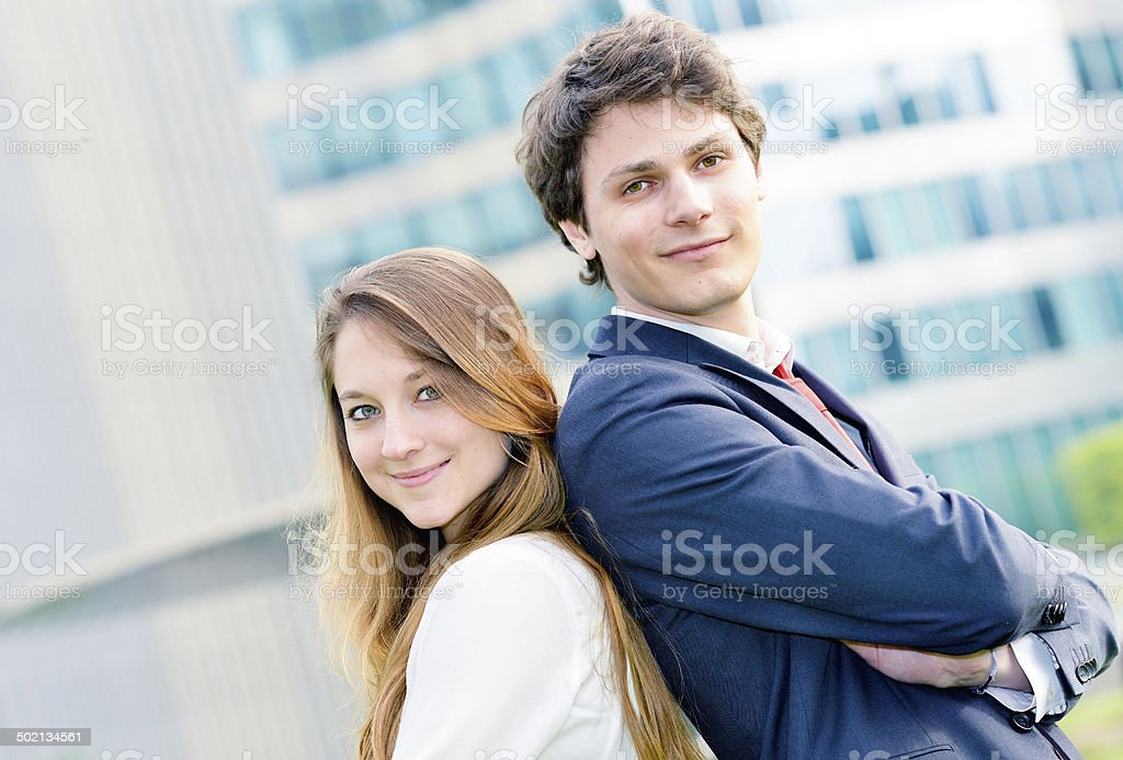 expressive portrait Junior executives of company crossed arms royalty-free stock photo