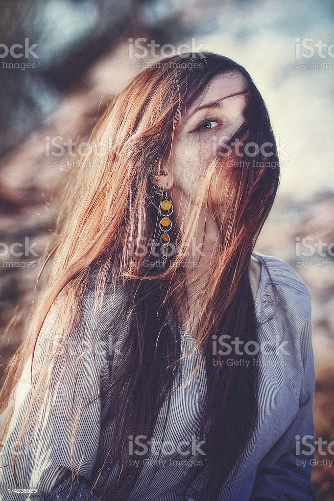 expressive portrait of a girl with freckles royalty-free stock photo