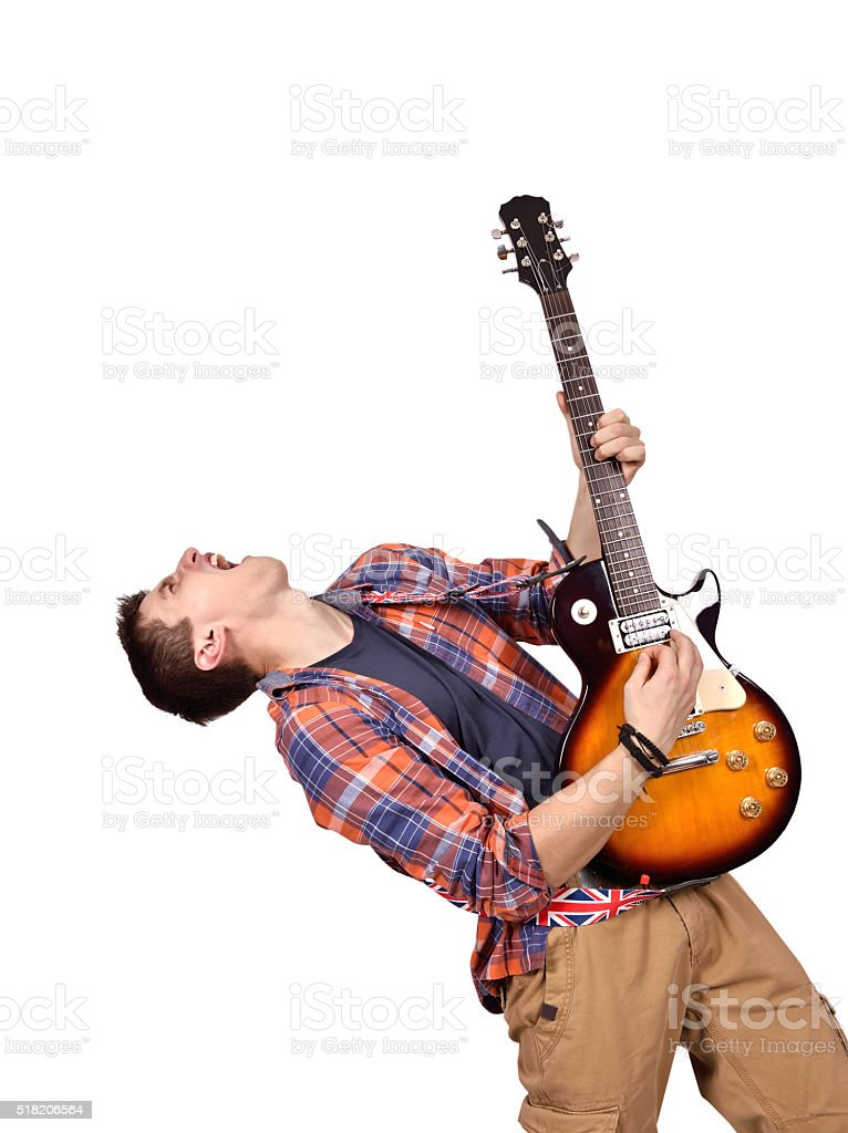 expressive rock musician stock photo