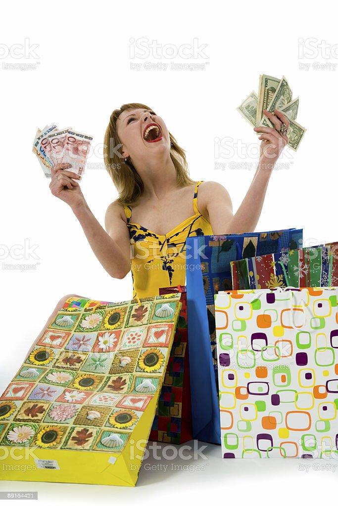 expressive woman shopping royalty-free stock photo