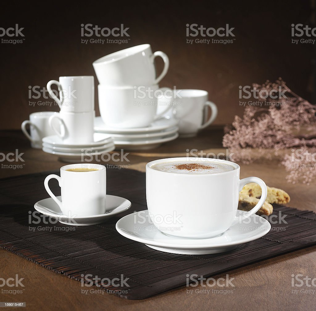 Expresso and Capuccino royalty-free stock photo