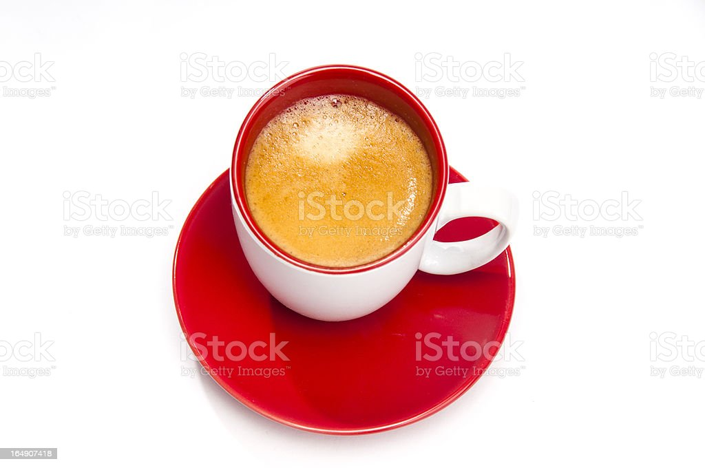 Expresso coffee in red and white cup from the top royalty-free stock photo