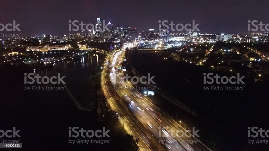 Expressway at midnight stock photo