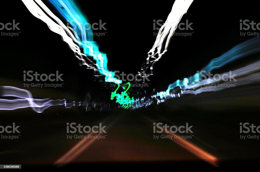 expressway at night stock photo
