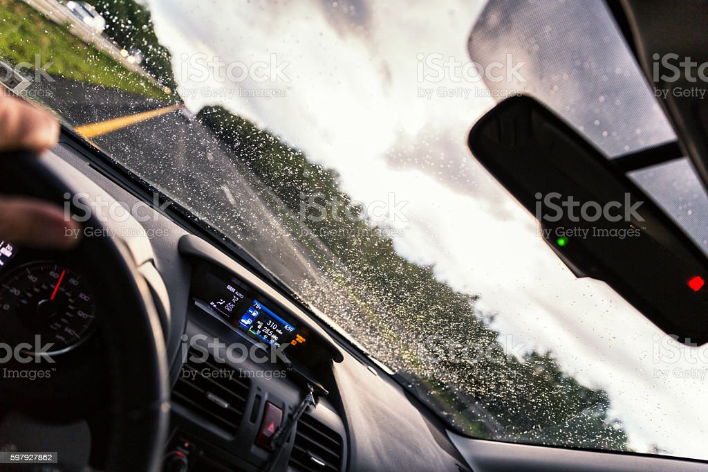 Expressway Driving POV Through Speeding Car Windshield During Rain Storm stock photo