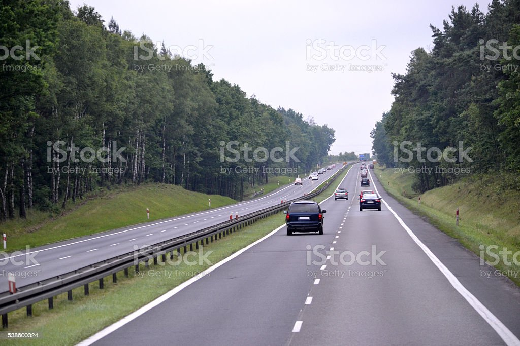Expressway/ highway in Poland stock photo