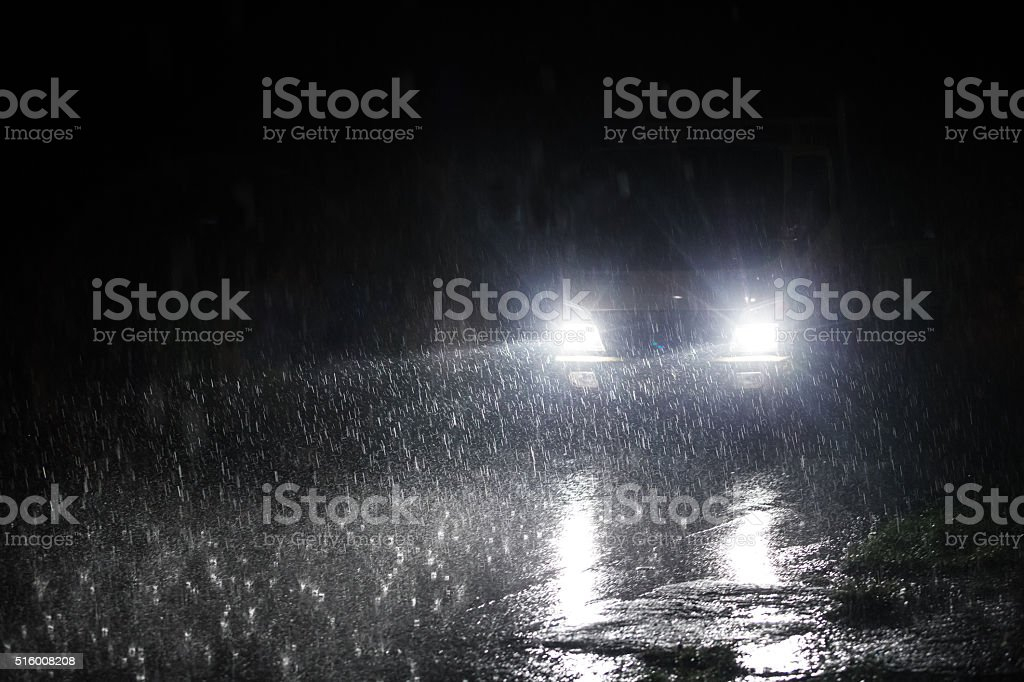 Expressway in rainy twilight. stock photo