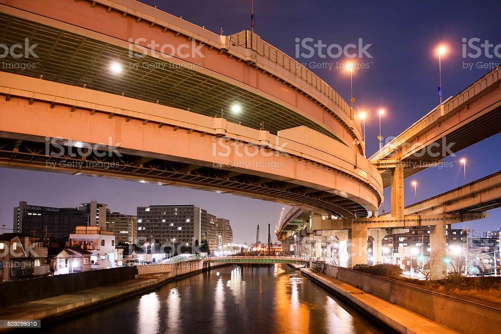 Expressway, night view in Tokyo. stock photo