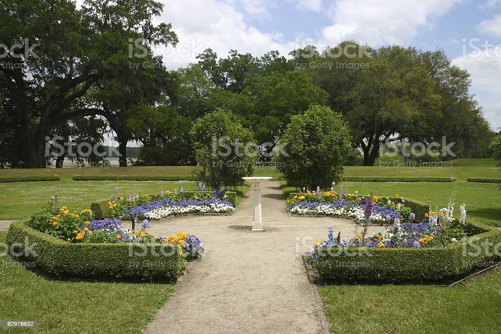 Exquisite flower garden at Middleton Place stock photo