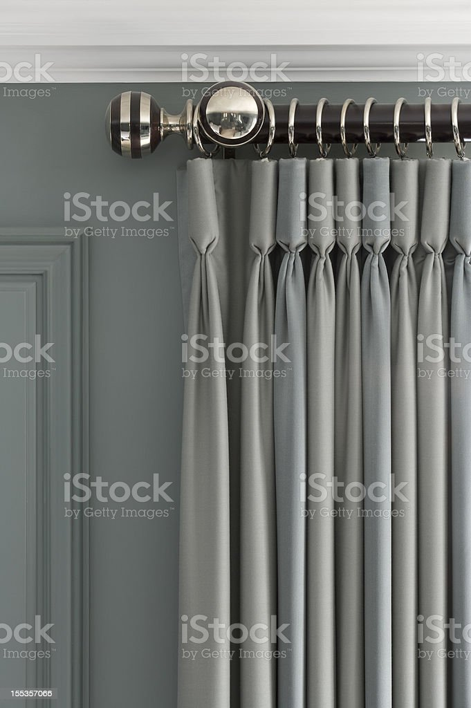 exquisite grey-green curtains stock photo