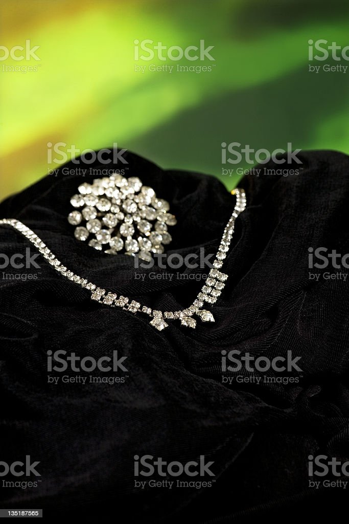 Exquisite necklace and broach, both antiques. Diamond. stock photo