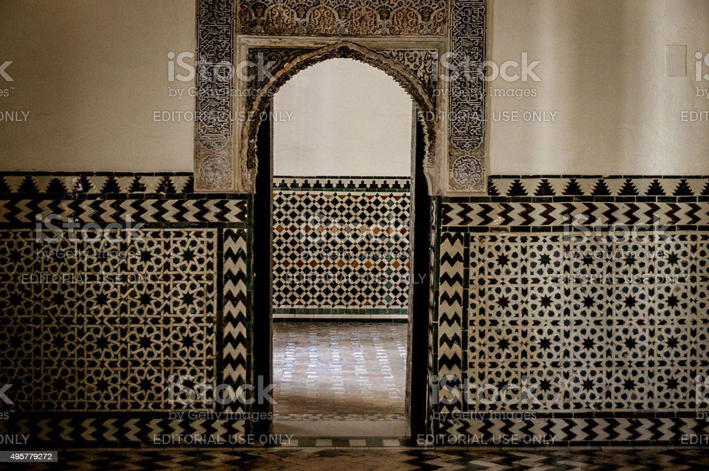 Exquisite tiles and old door found in Ancient Spain stock photo