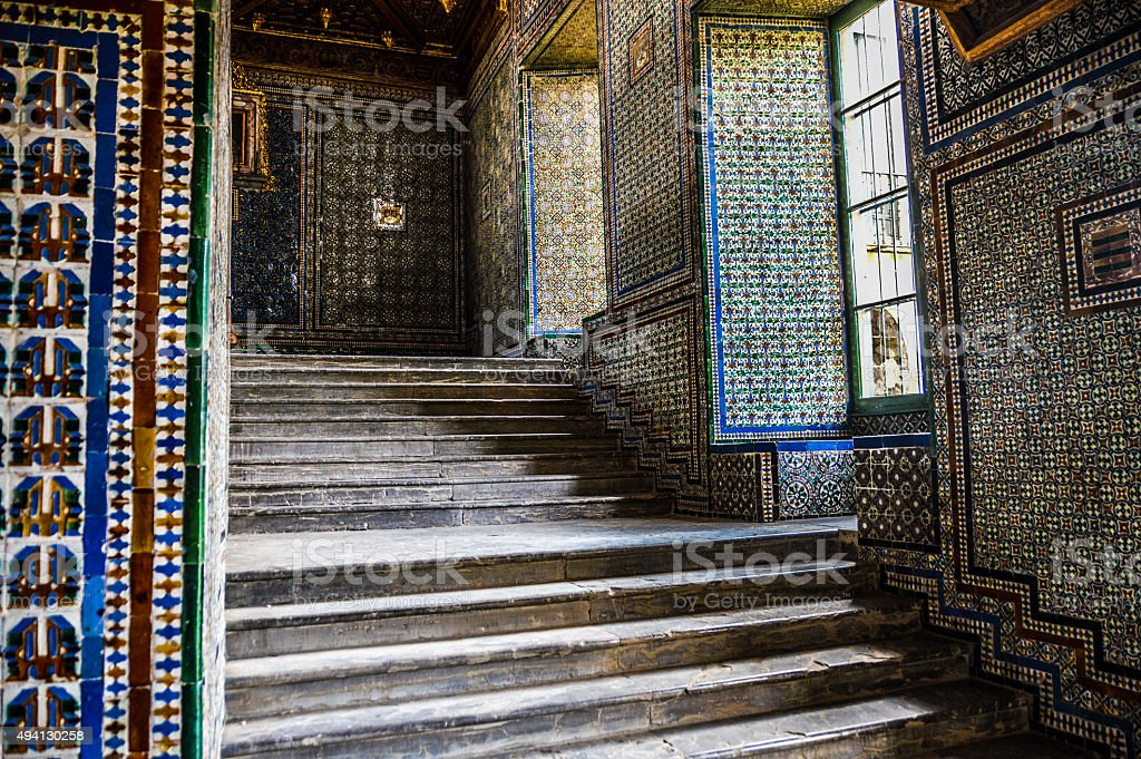 Exquisive tile work on stair case stock photo