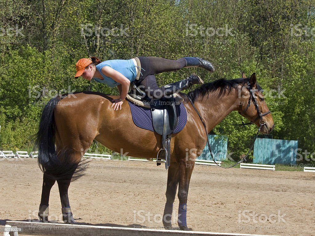 Exsecise On The Horse royalty-free stock photo