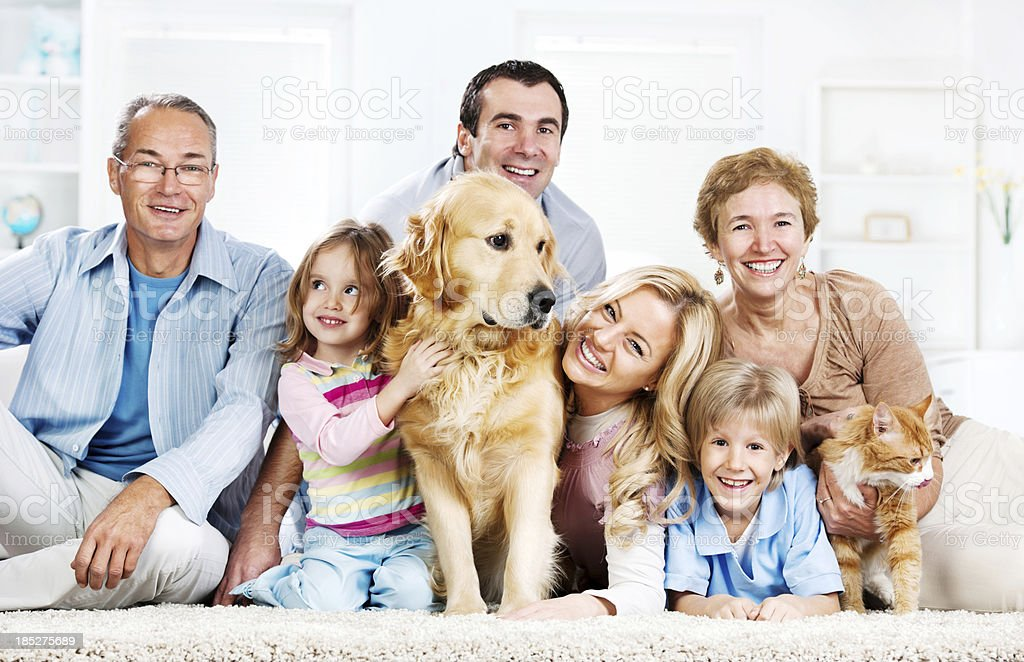 Extended cheerful family with pets. stock photo