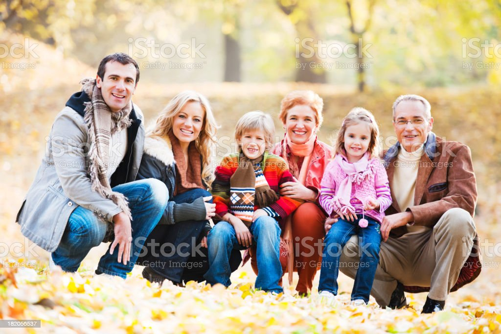 Extended family enjoying in the park. royalty-free stock photo