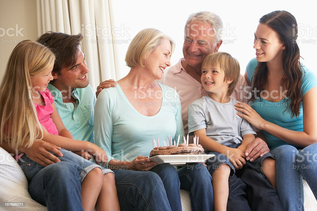 Extended Family Group Celebrating Birthday royalty-free stock photo