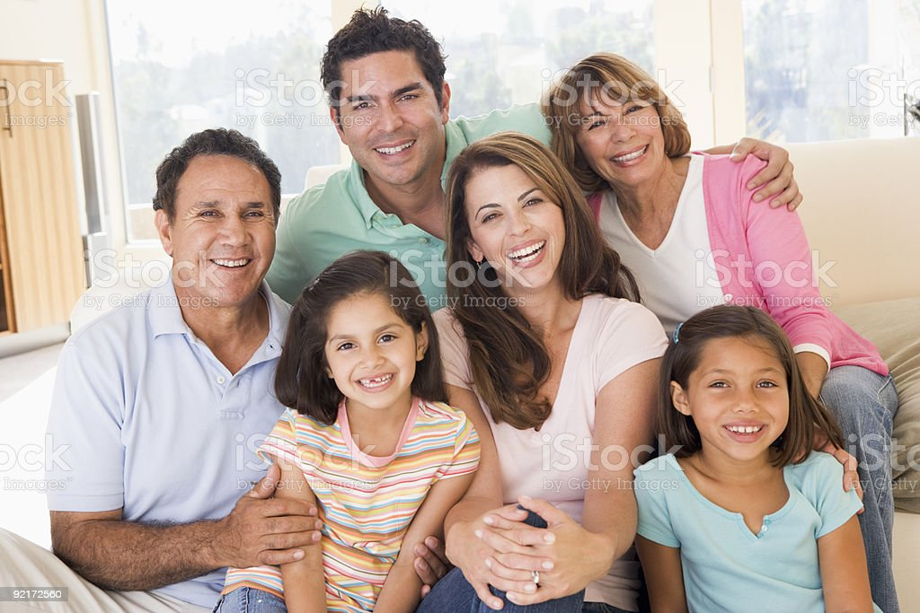 Extended family in living room royalty-free stock photo