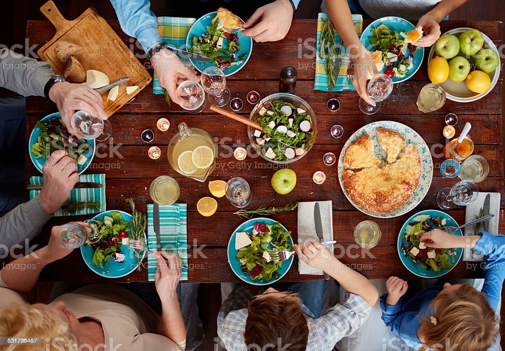 Extended family meal stock photo
