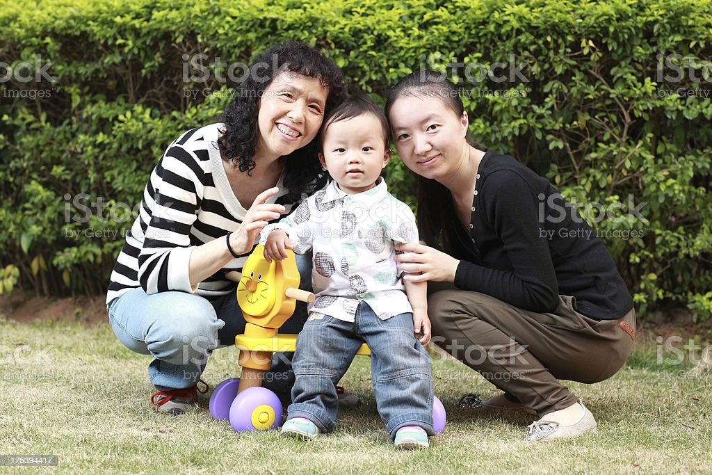 Extended family  outdoors smiling royalty-free stock photo