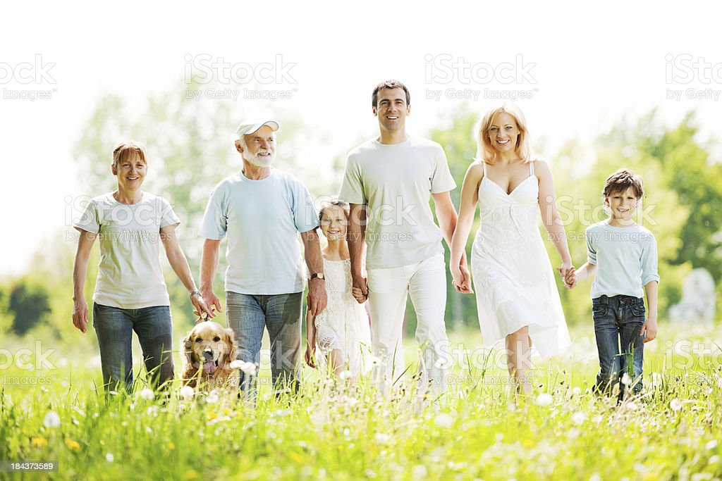 Extended family with grandparents are taking a walk in park. stock photo
