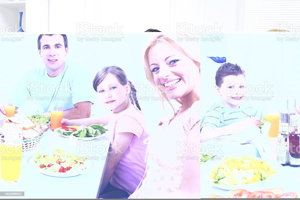 Extended happy family having a lunch at home. royalty-free stock photo