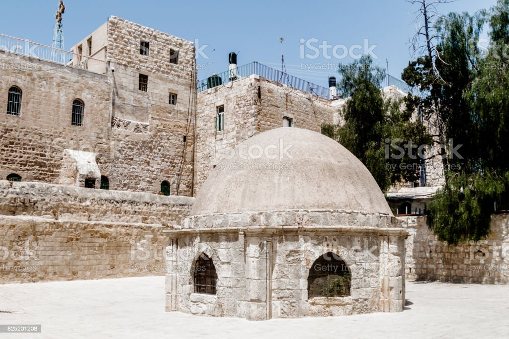 Extension  in the courtyard of the Dome in Ethiopian monastery near the Church of the Holy Sepulchre in the old city of Jerusalem, Israel. stock photo