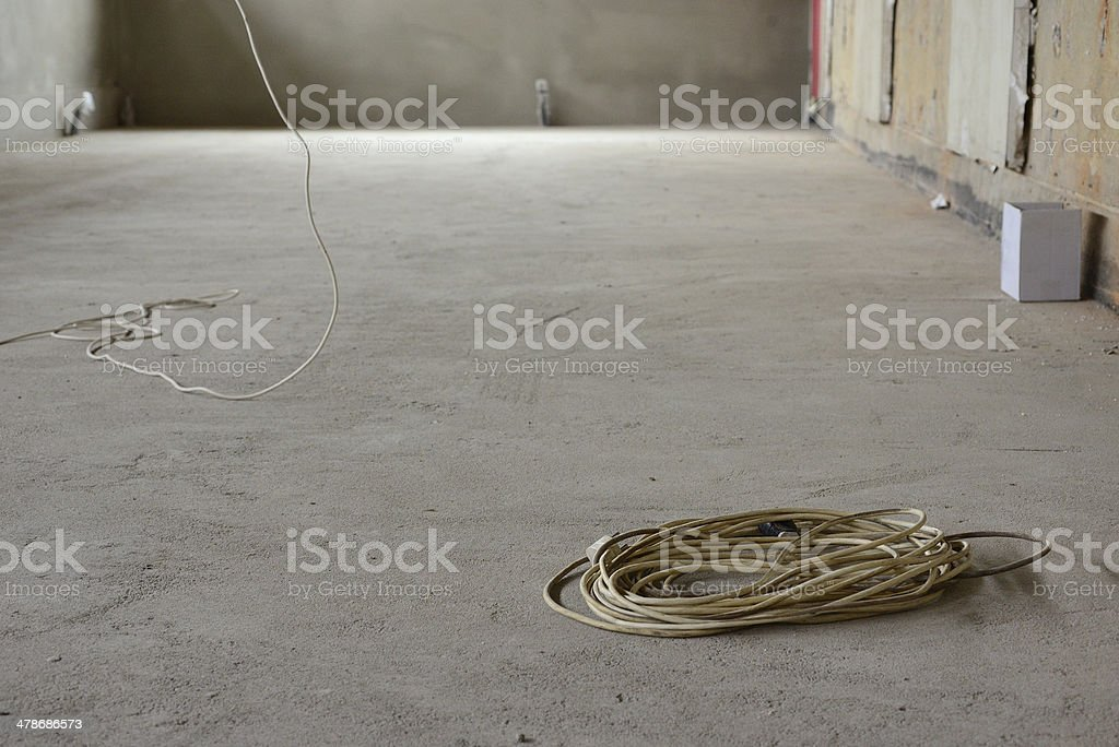 Extension lead in a new room stock photo