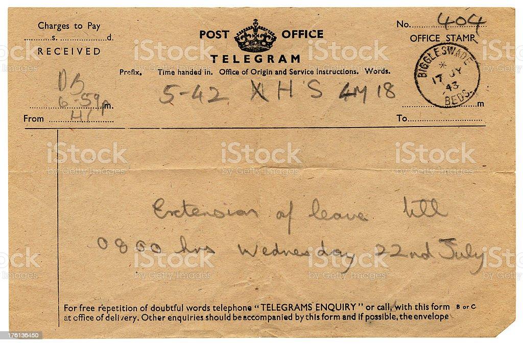 Extension of leave British serviceman's telegram, 1943 stock photo