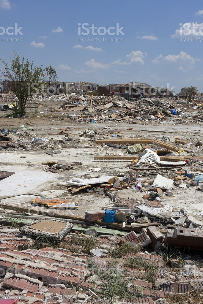 Extensive Tornado Damaged Buildings royalty-free stock photo