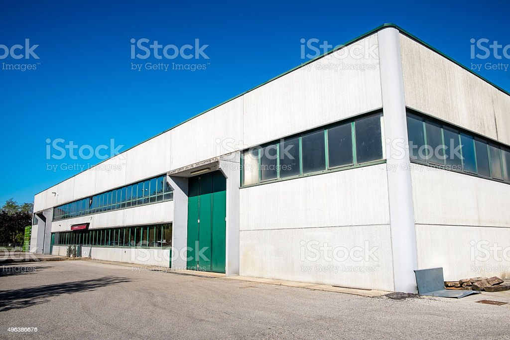 Exterior an industrial warehouse stock photo