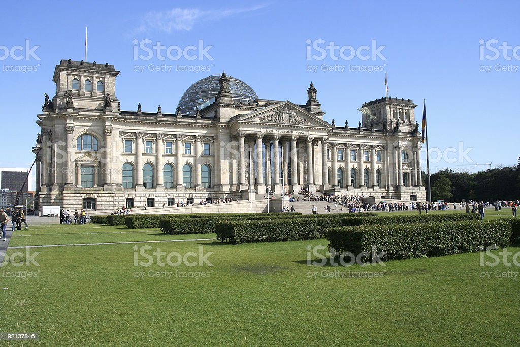Exterior and grounds of Berlin's Reichstag Building stock photo