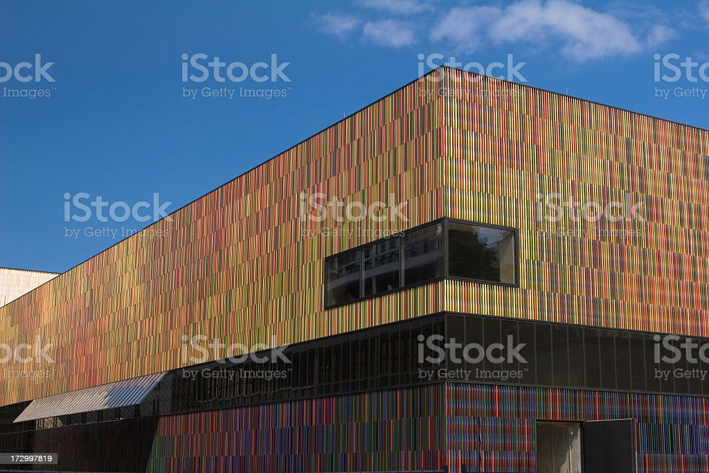 Exterior angled view of the new Museum Brandhorst in Munich royalty-free stock photo
