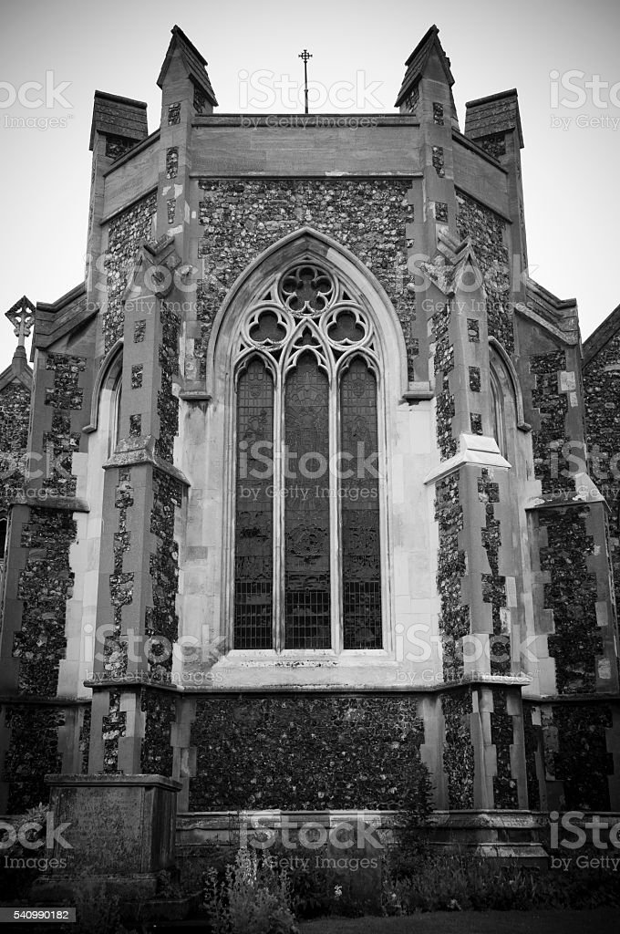 Exterior Buckland Church of St Andrew, Black and White stock photo