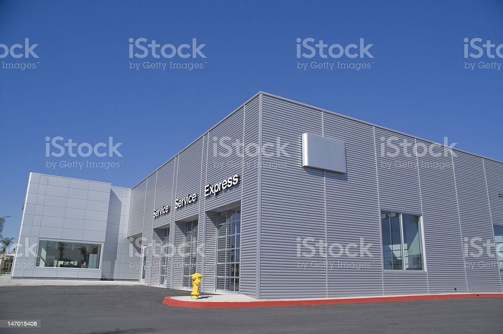 Exterior building detail of automobile service station stock photo