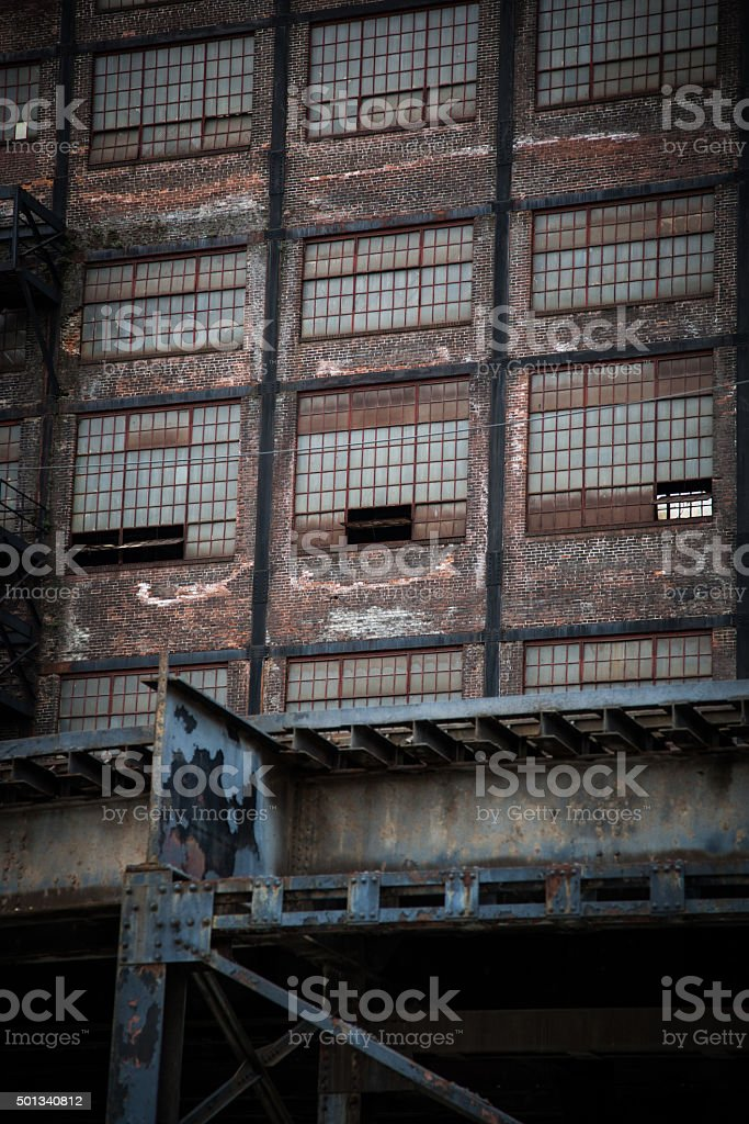 Exterior detail of abandoned factory stock photo