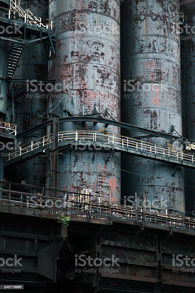 Exterior detail of old steel mill stock photo