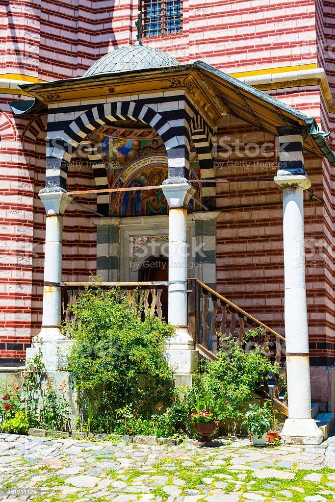 Exterior details of famous Rila Monastery, Bulgaria stock photo