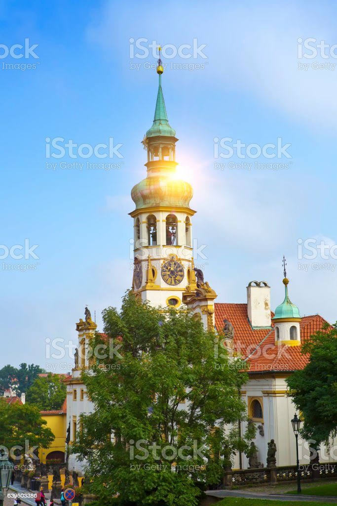 Exterior facade of Loreta church in Prague stock photo